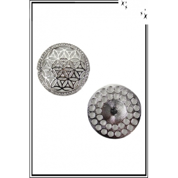 Broche aimantée - Fleur étoilée et strass - Argenté