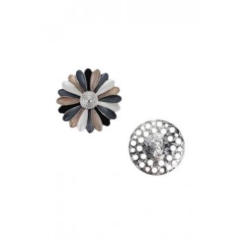 Broche aimantée - Fleur colorée - Bronze, bleu et noir