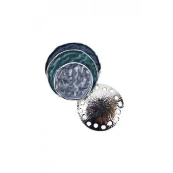 Broche aimantée - Forme coquillage - Tons bleus