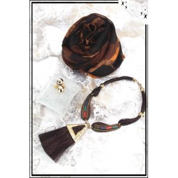 Cocco Box - Bijoux fantaisie et foulard - Chocolat et doré