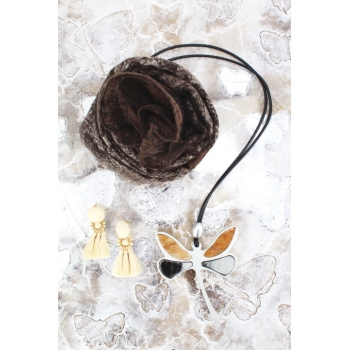 Cocco Box - Bijoux fantaisie et foulard - Chocolat et beige