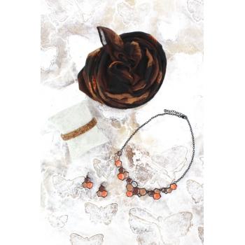 Cocco Box - Bijoux fantaisie et foulard - Chocolat et rouille