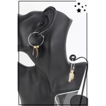Boucle d'oreille - Créole et breloques - Poissons - Noir, doré et argenté