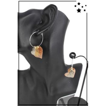 Boucle d'oreille - Créole et breloques - Coeurs - Cuivré, doré et argenté