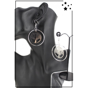 Boucle d'oreille - Grande créole - Arbre de vie - Argenté