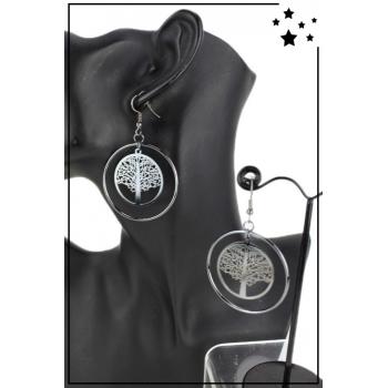 Boucle d'oreille - Grande créole - Arbre de vie - Noir métallisé
