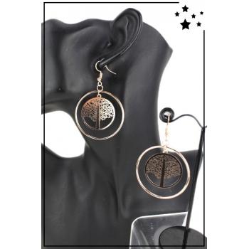Boucle d'oreille - Grande créole - Arbre de vie - Doré