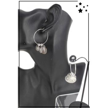 Boucle d'oreille - Créole et breloques - Coquillages - Argenté