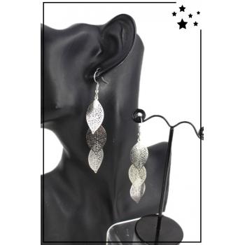 Boucle d'oreille pendante - Feuilles - Argenté