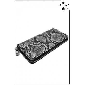 Porte monnaie et cartes - Grand format zippé - Imprimé python - Blanc / Noir