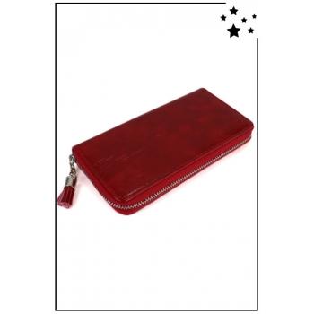 Porte monnaie et cartes - Grand format zippé - Pampille - Verni et reflet - Rouge
