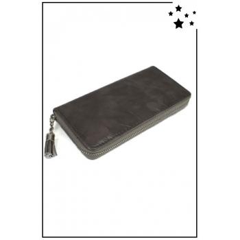 Porte monnaie et cartes - Grand format zippé - Pampille - Verni et reflet - Gris