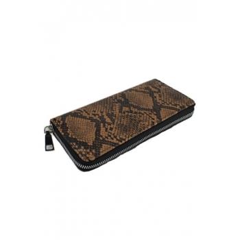 Porte monnaie et cartes - Grand format zippé - Imprimé python - Chocolat / Noir