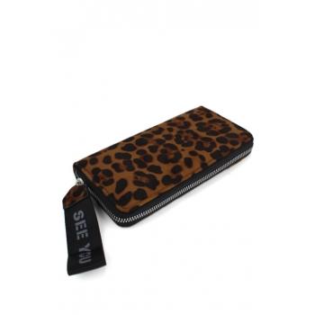 Porte monnaie et cartes - Grand format zippé - Dragonne - Imprimé léopard - Chocolat / Noir