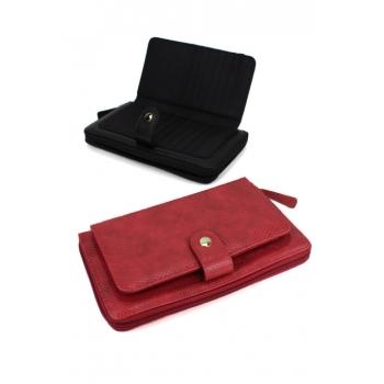 Porte monnaie et cartes - Grand format zippé - Multiples compartiments - Aspect python - Rouge