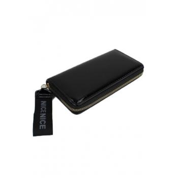 Porte monnaie et cartes - Grand format zippé - Dragonne - Verni et reflet - Noir