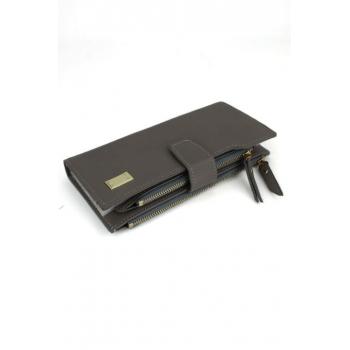 Porte monnaie et cartes - Deux compartiments zippés - Gris
