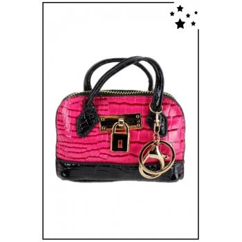 Porte monnaie mini sac à main - Effet croco vernis - Fushia