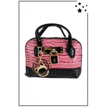 Porte monnaie mini sac à main - Effet croco vernis - Rose