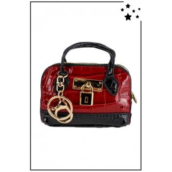 Porte monnaie mini sac à main - Effet croco vernis - Rouge