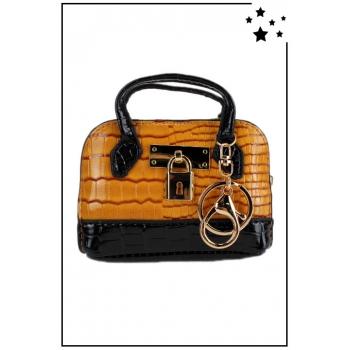 Porte monnaie mini sac à main - Effet croco vernis - Moutarde