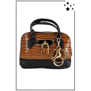Porte monnaie mini sac à main - Effet croco vernis - Camel