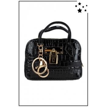 Porte monnaie mini sac à main - Effet croco vernis - Noir