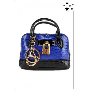 Porte monnaie mini sac à main - Effet croco vernis - Bleu