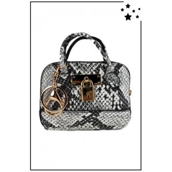 Porte monnaie mini sac à main - Effet python - Blanc