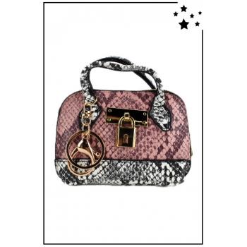 Porte monnaie mini sac à main - Effet python - Rose