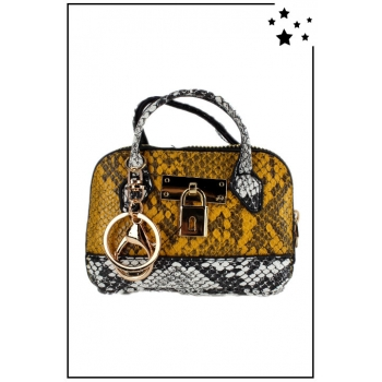 Porte monnaie mini sac à main - Effet python - Moutarde