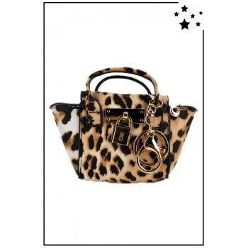 Porte monnaie mini sac à main - Style léopard - Camel