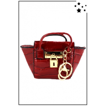 Porte monnaie mini sac à main - Vernis - Rouge effet croco