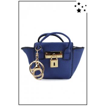 Porte monnaie mini sac à main - Aspect Saffiano - Bleu