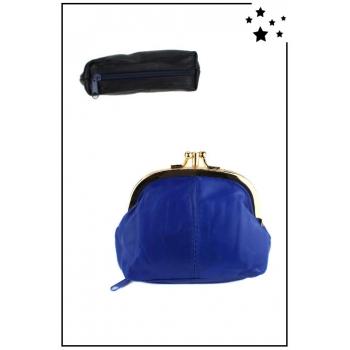 Porte monnaie - Petit format - Fermoir clic-clac - Zip en dessous - Bleu