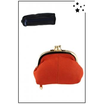 Porte monnaie - Petit format - Fermoir clic-clac - Zip en dessous - Orange