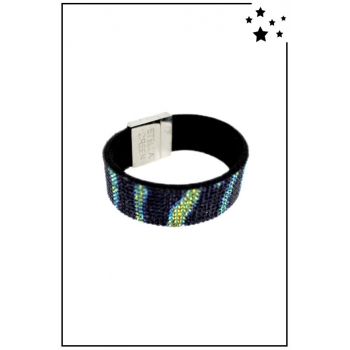 Bracelet manchette Stella Green - Strass et motifs irisés - Noir