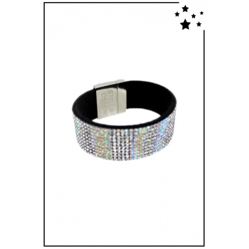 Bracelet manchette Stella Green - Strass et motifs irisés - Blanc