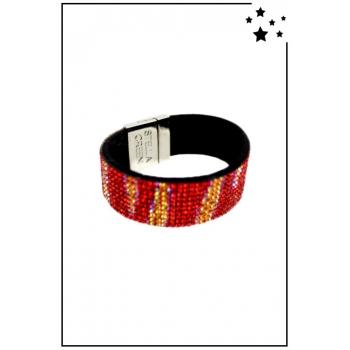 Bracelet manchette Stella Green - Strass et motifs irisés - Rouge