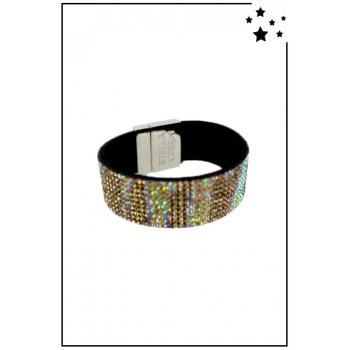 Bracelet manchette Stella Green - Strass et motifs irisés - Doré