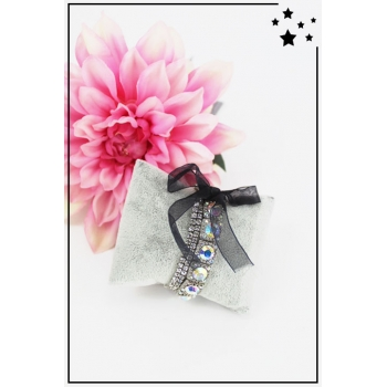 Bracelet strass élastique - 3 rangs et ruban - Blanc