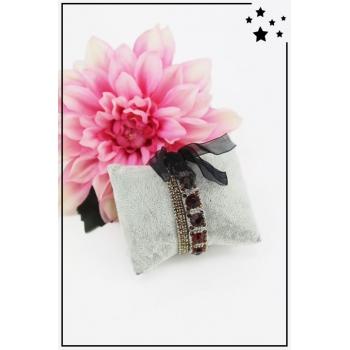 Bracelet strass élastique - 3 rangs et ruban - Chocolat
