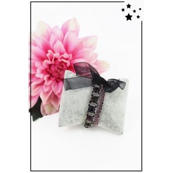Bracelet strass élastique - 3 rangs et ruban - Violet