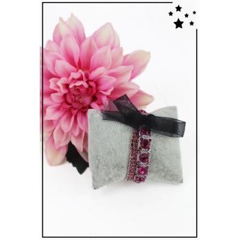 Bracelet strass élastique - 3 rangs et ruban - Rose