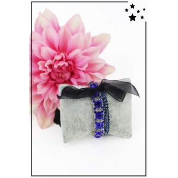 Bracelet strass élastique - 3 rangs et ruban - Bleu nuit