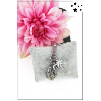 Bracelet perles et breloques - Feuille et strass - Argenté