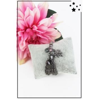 Bracelet perles et breloques - Feuille et strass - Noir métallisé