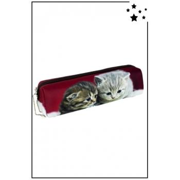 Trousse à crayons - 2 chatons - Bordeaux