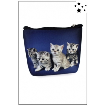 Porte monnaie - 4 chatons - Bleu