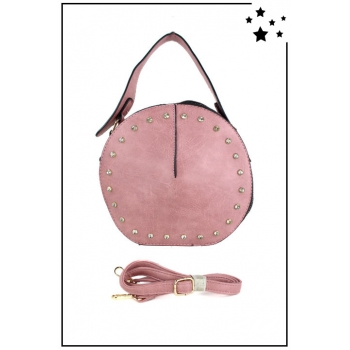 Sac à main rond - Strass - Rose